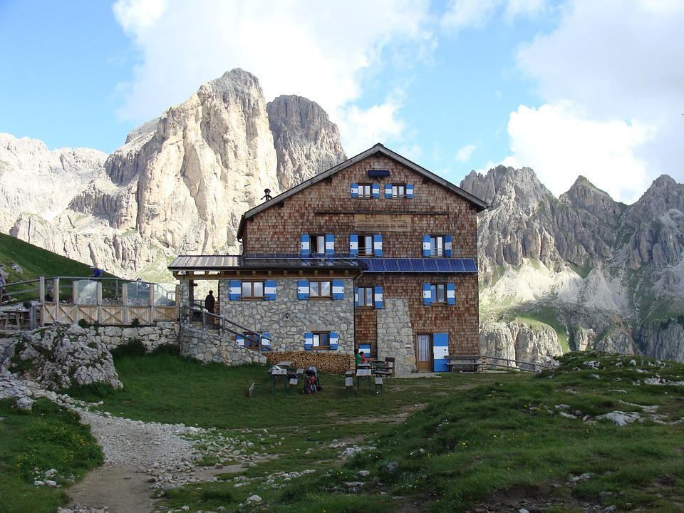 Rotwandhütte, Alpine Hut, Mountain Hut, Dolomites