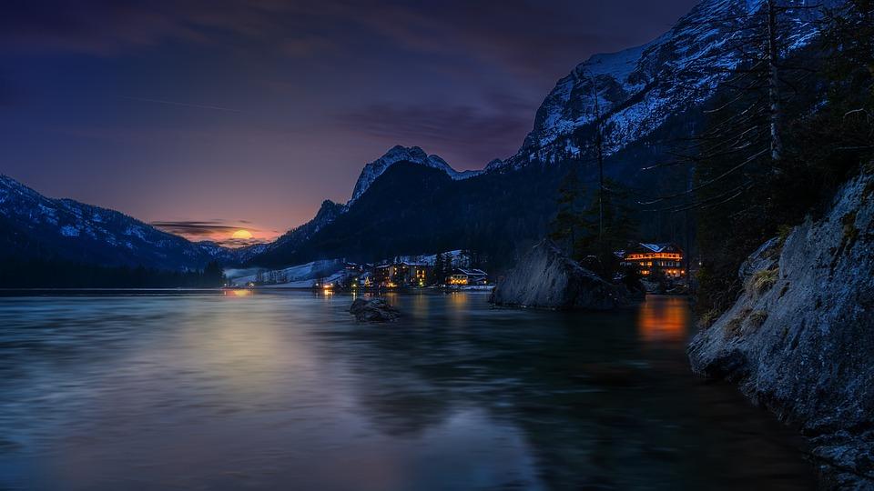 Landscape, Nature, Mountains, Alpine, Hintersee