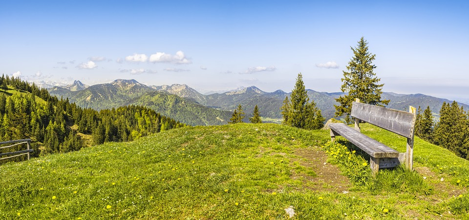 Bank, Mountains, Alpine, View, Sky, Landscape, Nature