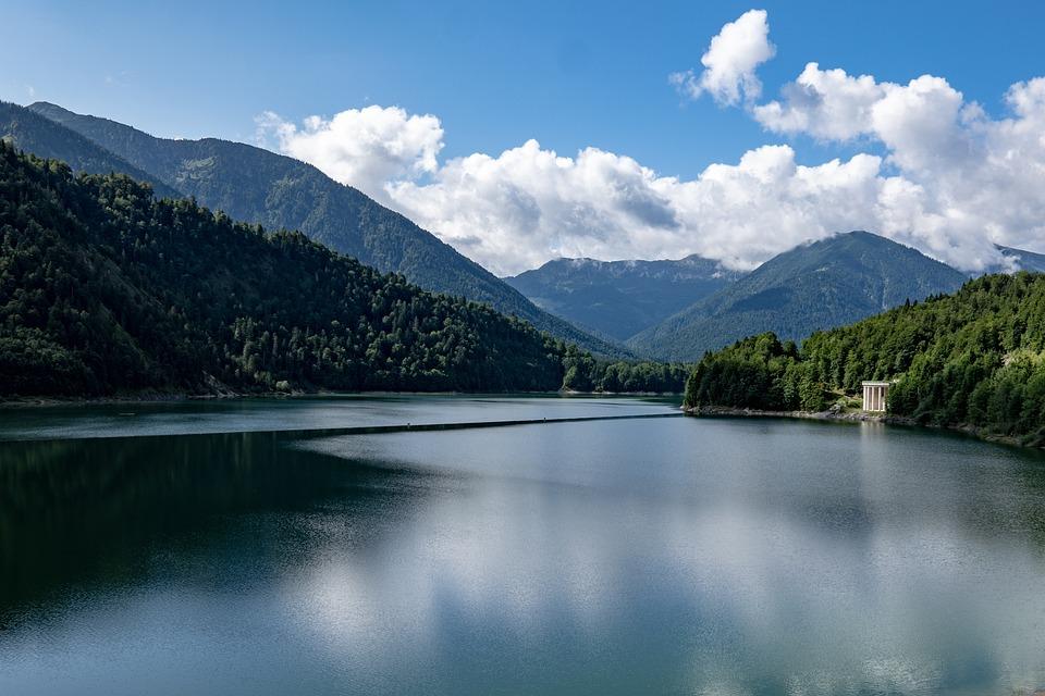 Sylvenstein, Reservoir, Lake, Mountains, Alpine, Sky