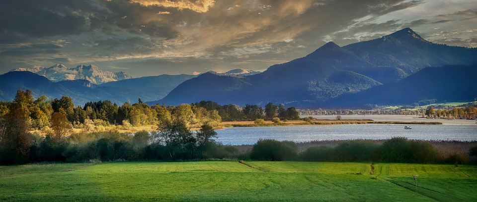 Lake, Mountains, Fields, Trees, Bushes, Alps, Alpine