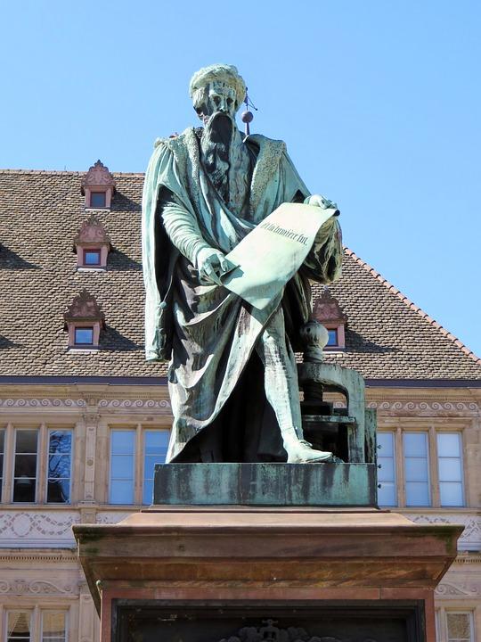 Alsace, Strasbourg, Gutemberg, Statue, Bronze