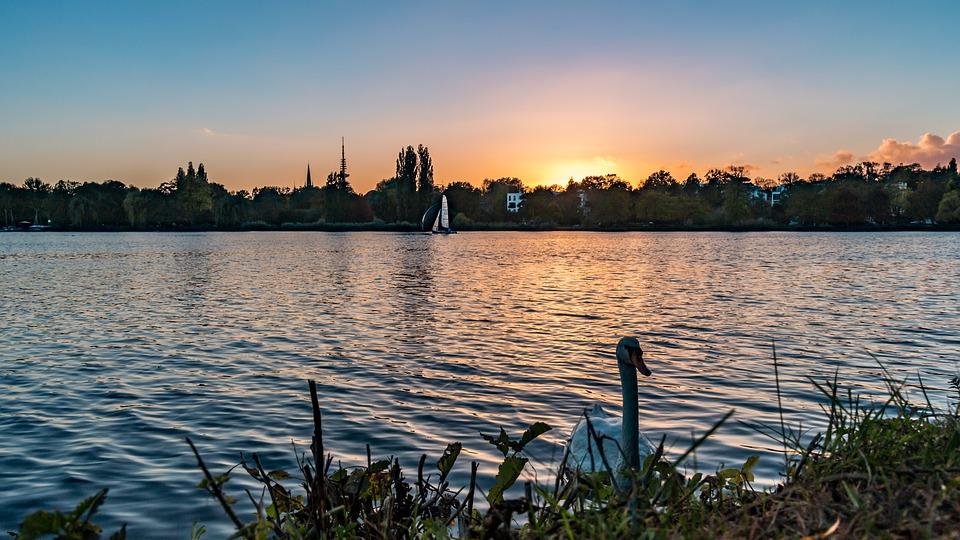Alster, Evening, Sunset, Landscape, Mood, Travel