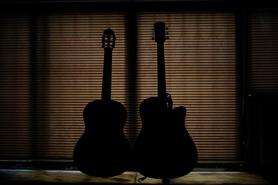Guitar, Amazing Gesture, Background, Silhouetts