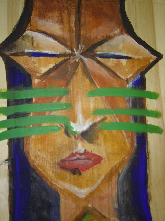Indians, Wood Work, Regenwaldindianer, Amazon, Painting