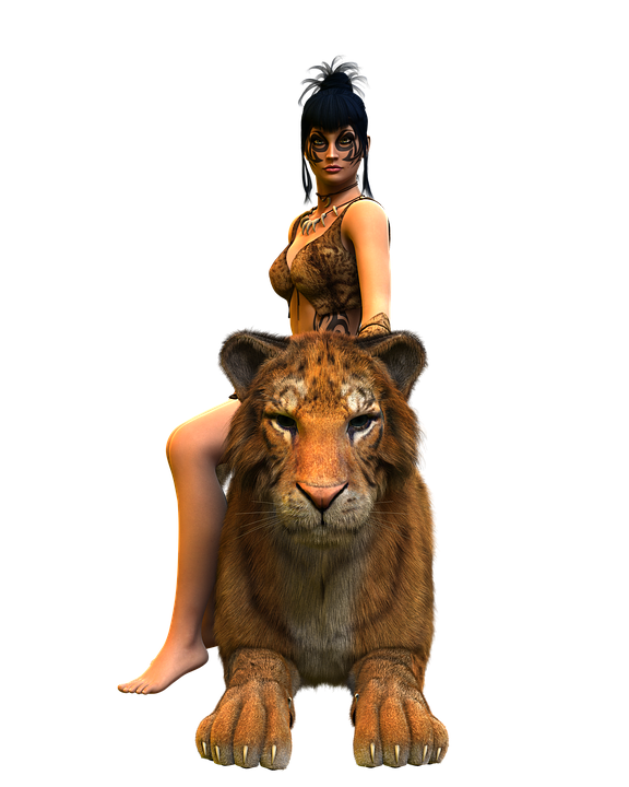 Woman, Tiger, Amazone, Heroine, Beauty, Courageous