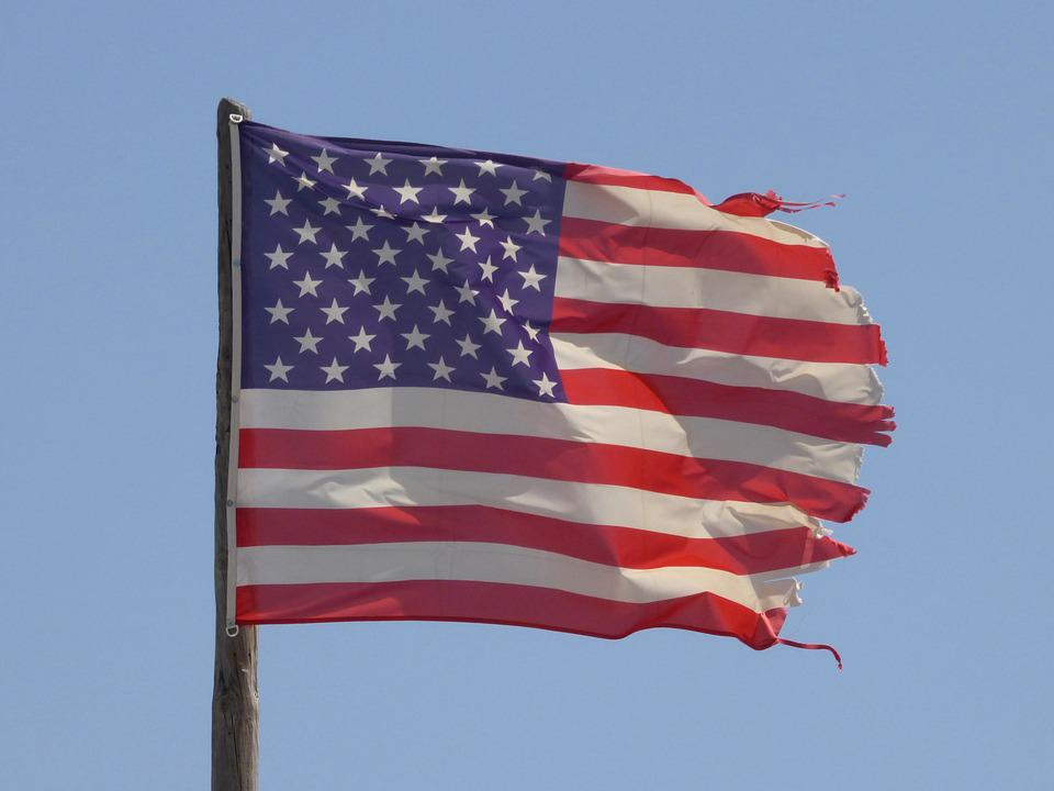 Flag, America, Usa, Ripped, Wind, Sky, Stripes, Country