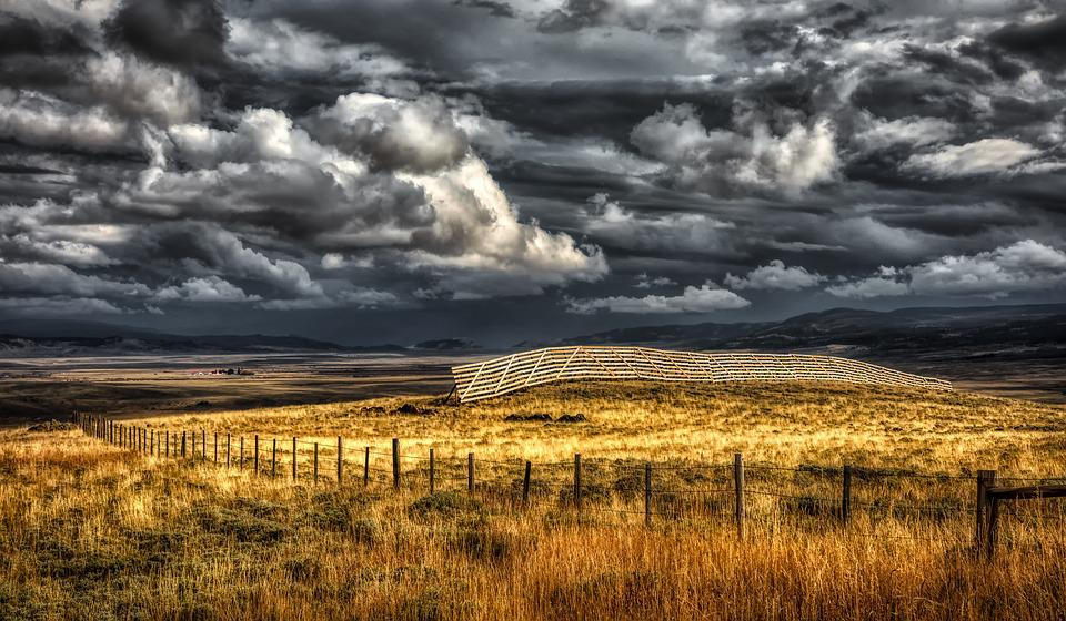 Wyoming, America, Fields, Meadows, Sky, Clouds, Mood