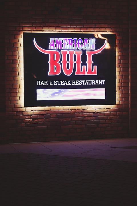 American, Bull, Bar, Restaurant, Lights, Citylight, Ad