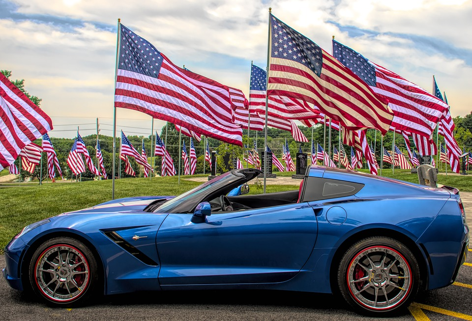 Flags, Car, Corvette, Automobile, Symbol, American