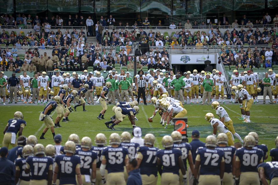 Football, American, College, Notre Dame, Navy, Field