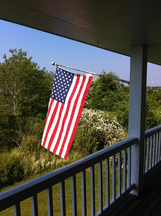 Flag, Porch, American, Patriotic, Front Porch
