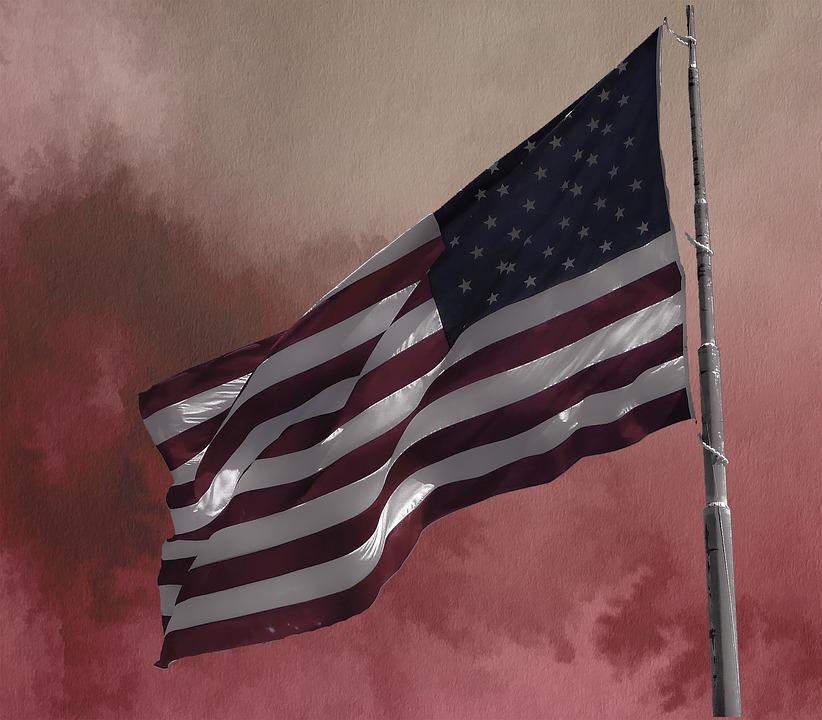 American Flag, Red Sky, Usa, American, Patriotic