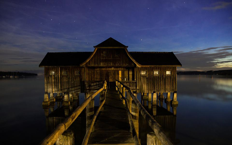 Ammersee, Boat House, Web, Lake, Bavaria, Water, Hut