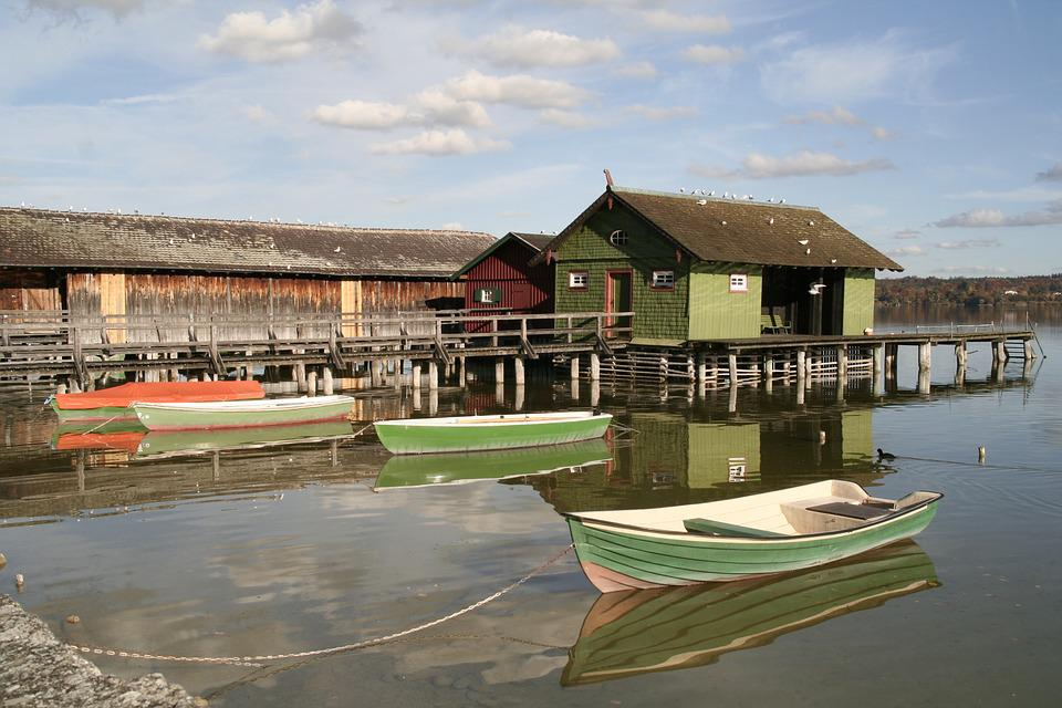 Boat House, Ammersee, Bavaria, Web, Water, Lake