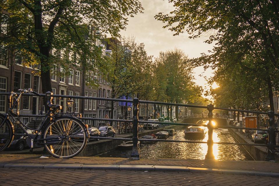 Sunset, Amsterdam, Kracht, Water, Landscape, Twilight