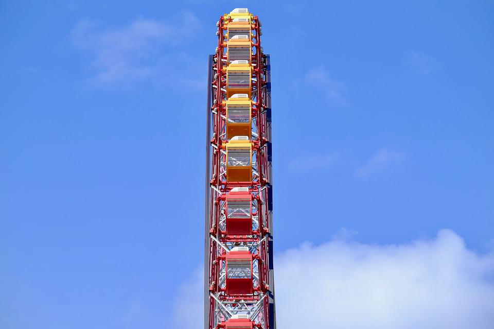 Ferris Wheel, Blue Sky, Going Down, Play, Amusement