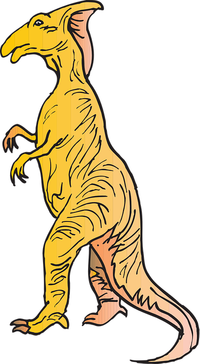 Yellow, Dinosaur, Standing, Reptile, Ancient
