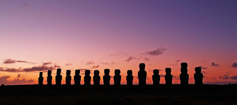 Chile, Easter Island, Statues, Silhouettes, Ancient