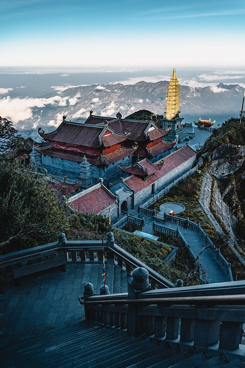 Temple, Stairs, Mountains, Buildings, Ancient