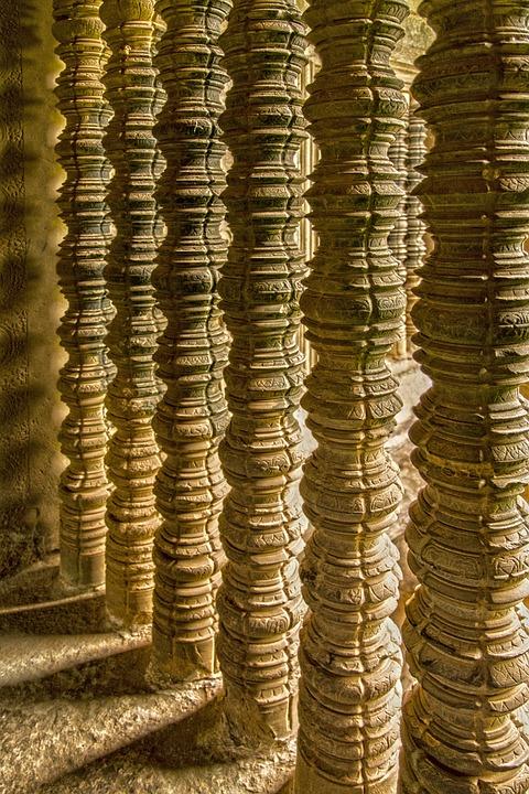 Temple, Pillars, Sunlight, Shadows, Asia, Ancient