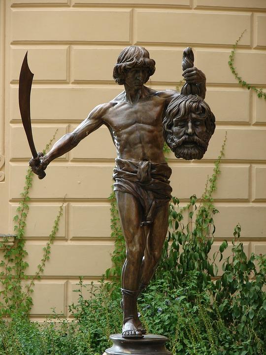 David, And, Goliath, Skuptur, Monument, Statue, Metal
