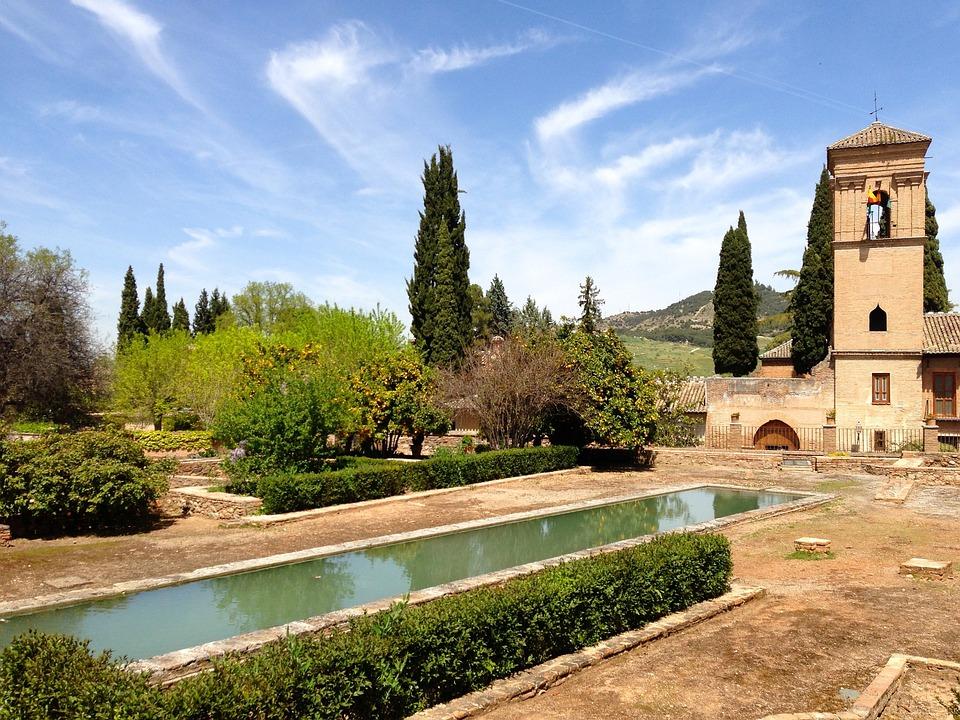 Andalusia, Sun, Clouds, Spain, Pond, Landscape, Church