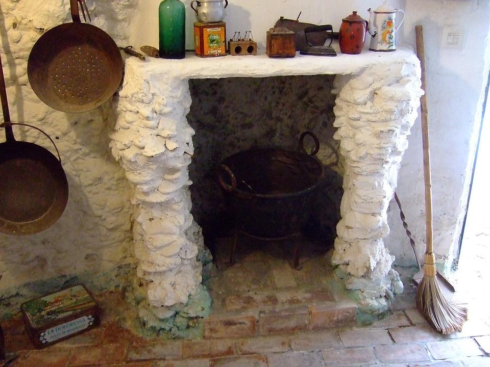 Kitchen, Cave, Sacromonte, Granada, Andalusia, Spain