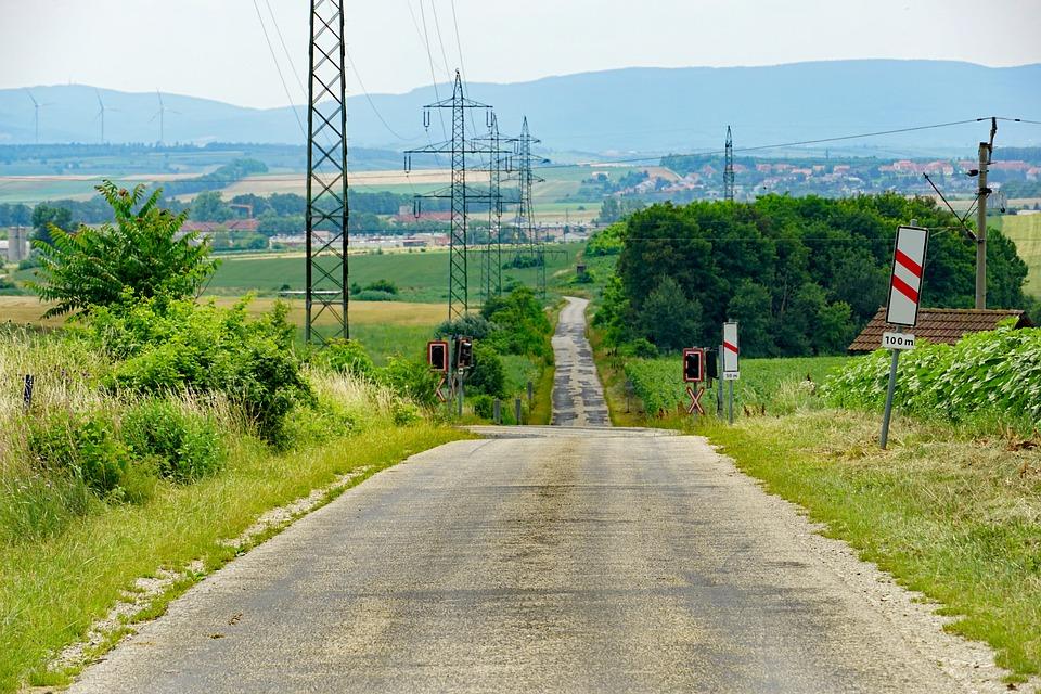 Lane, Andreaskreuz, Level Crossing, Power Lines