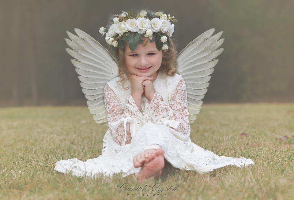 Angel, Angel Girl, Girl, Angel Wings, Flower Crown