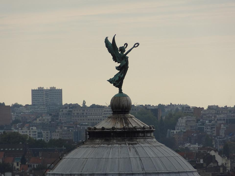 Brussels, The Cinquantenaire Park, Angel, Evening