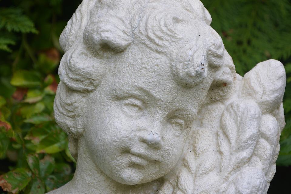Angel, Head, Child, Statue, Decoration, Garden