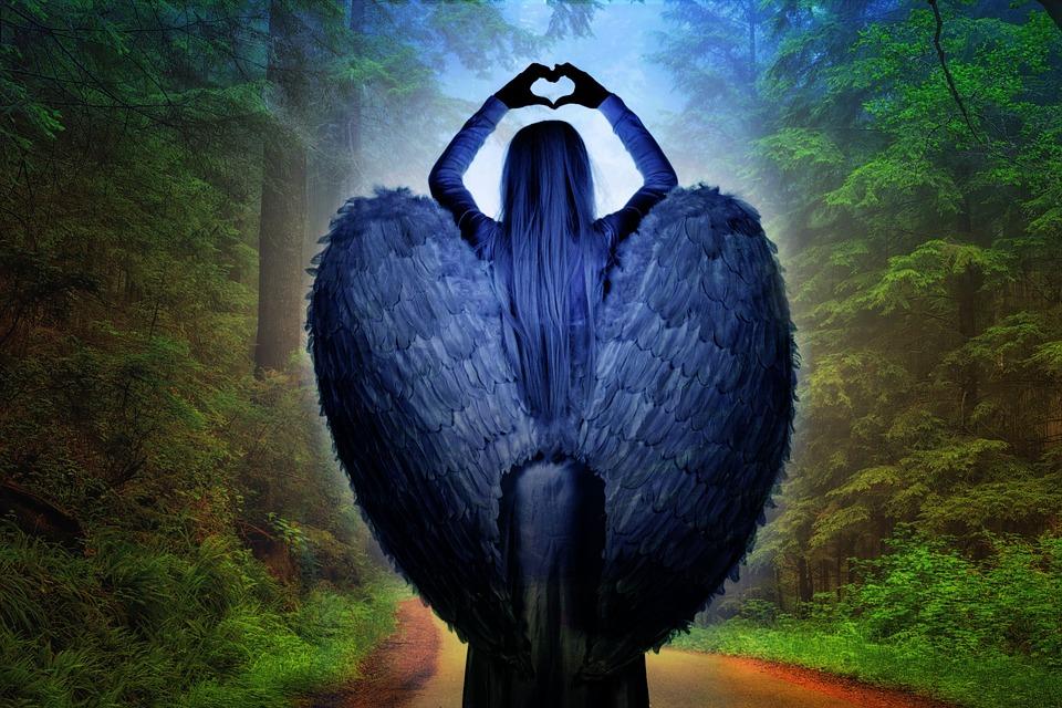 Angel, Forest, Mysticism, Mystical, Wing, Femininity