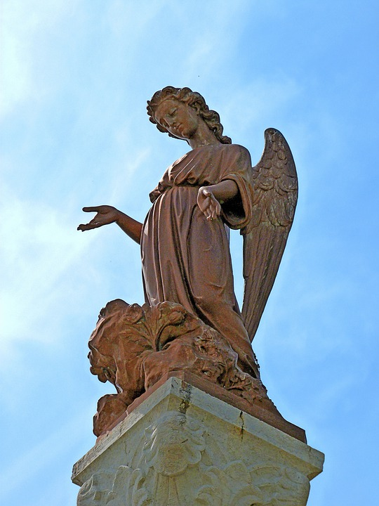 Angel, Statue, Eve, Wings, Hands, Sky, Protection