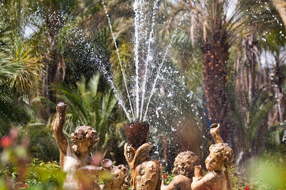 Fountain, Water, Water Feature, Figures, Angel, Putten