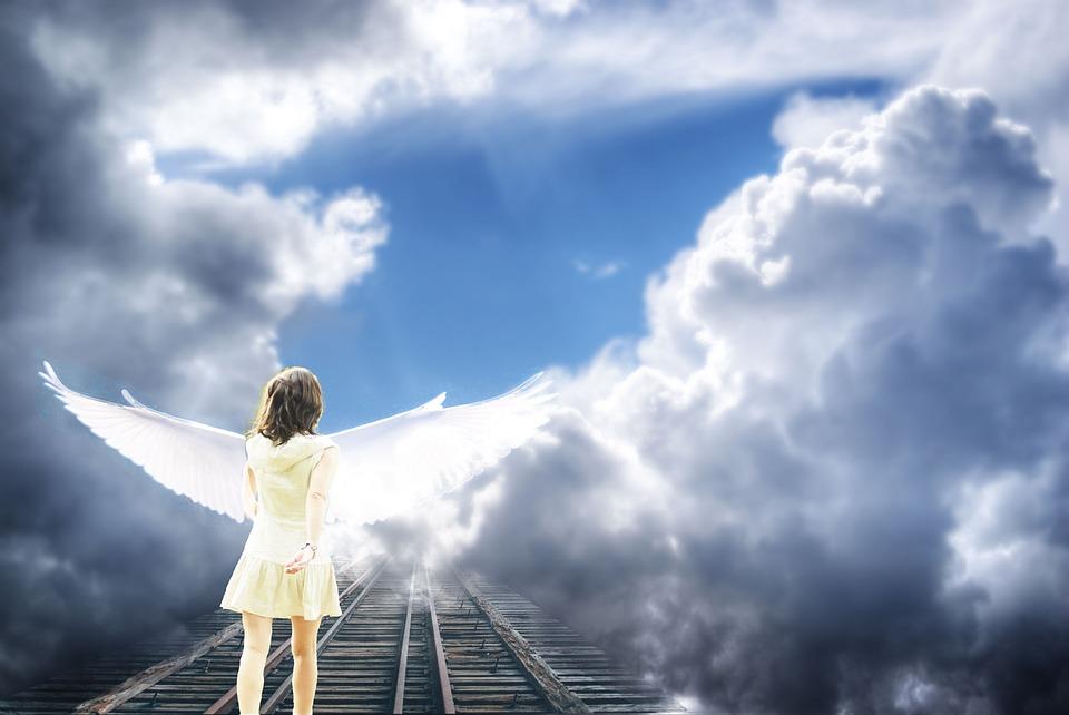 Angel, Sky, Clouds, Light, Shadow, Soul, Heavenly, Blue