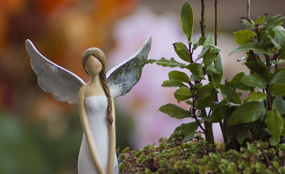 Angel, Flower, Wings, Decoration, White, Bokeh, Green