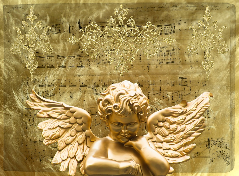 Angel, Wing, Angel Face, Gold, Angel Figure