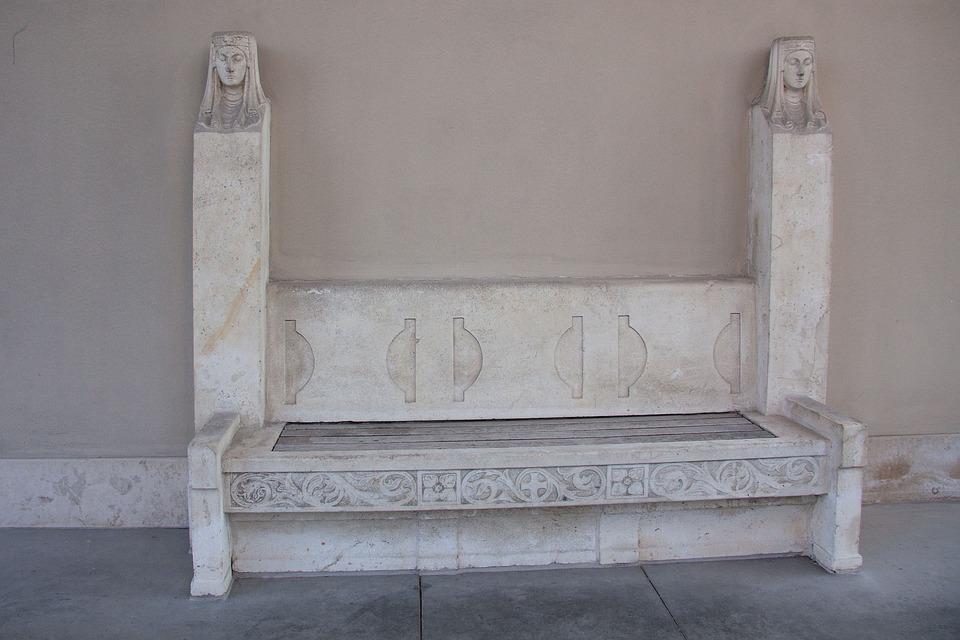 Bank, Stone Bench, Cemetery, Women's Heads, Angel, Rest