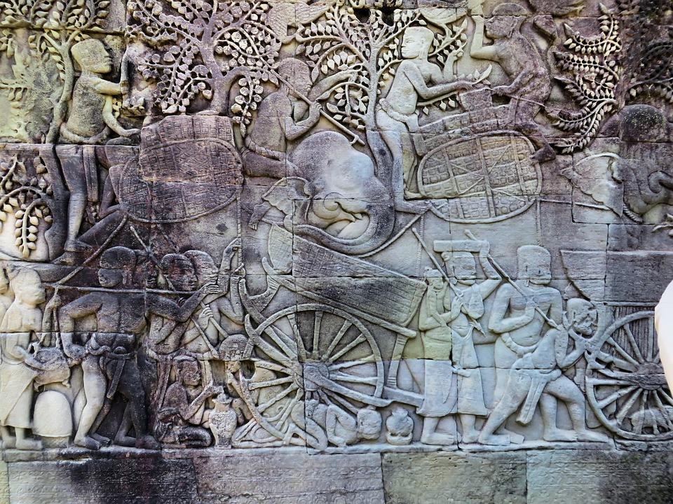 Cambodia, Angkor, Guards, Bayon, Temple, Statues