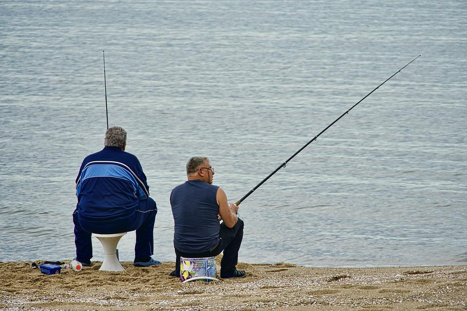 Fishermen, Fishing, Anglers, Outdoor, Beach, Sea