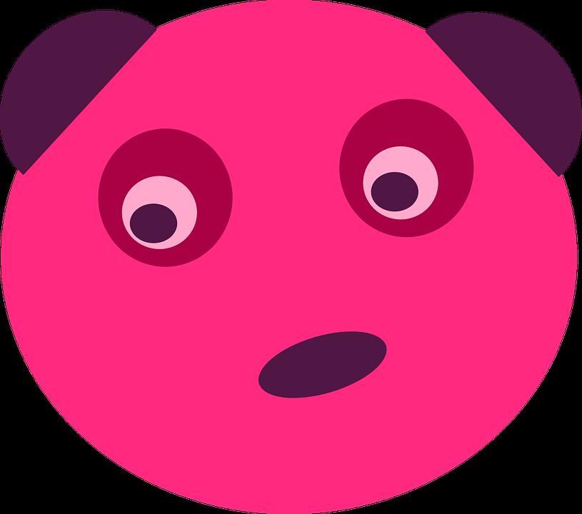 Bear, Pink, Panda, Animal, Face, Pink Animals