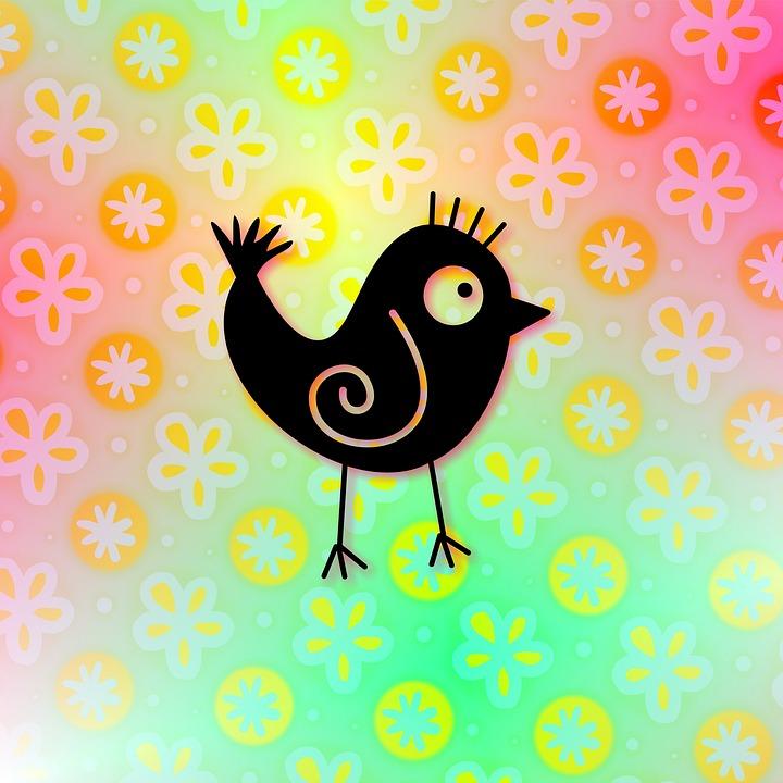 Cute, Cartoon, Whimsical, Silhouette, Bird, Animal