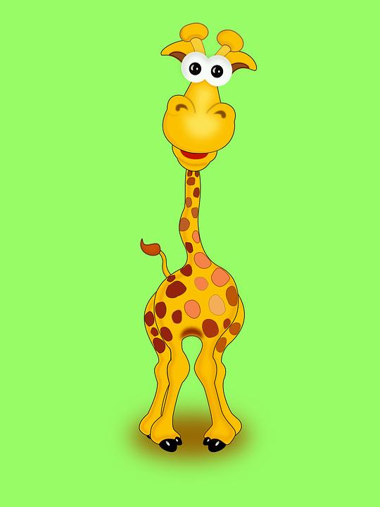 Giraffe, Animal, Funny, Happy, Yellow, Wildlife