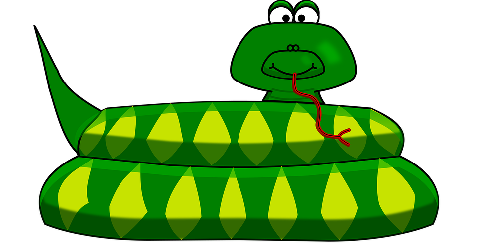 Snake, Cartoon, Green, Reptile, Animal, Wildlife