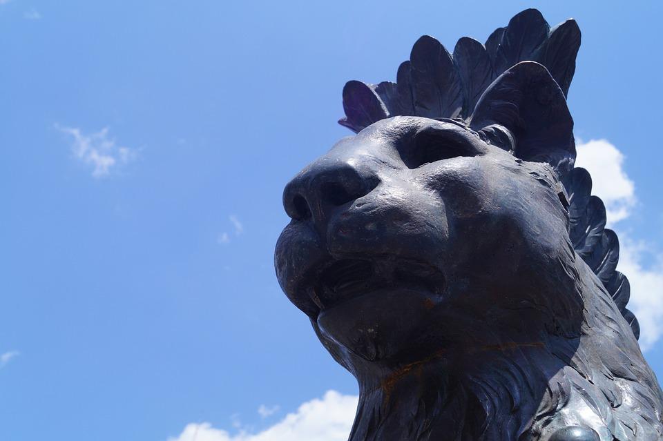 Lion, Statue, Fountain, Sculpture, Cat, Animal, City
