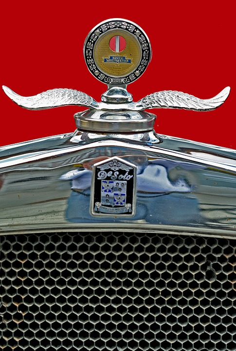 Hood Ornament, De Soto, Antique Car, Chrome, Enamel