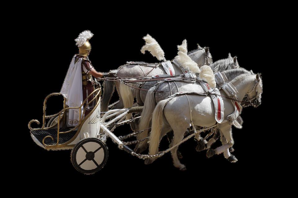 Roman, Char, Gladiator, Horses, Antique