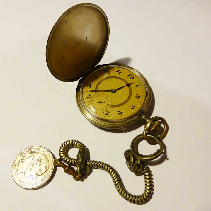 Pocket Watch, Time Of, Gold, Antique, Nostalgia