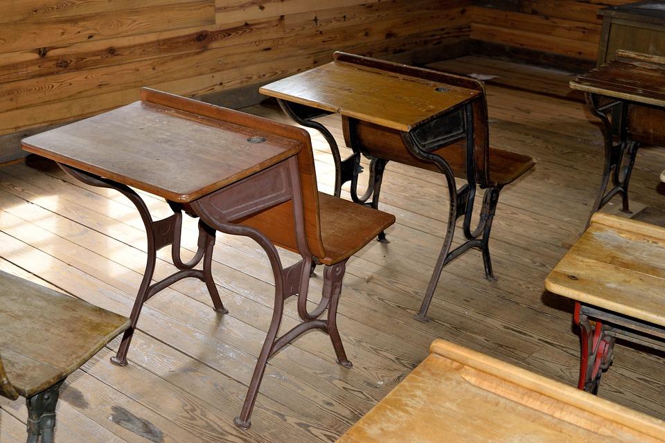 Antique, Wood Desk, School, Vintage, Old, Table, Retro